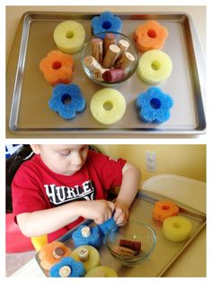 Corks and Poole noodle slices: Simple fine motor and bilateral coordination activity