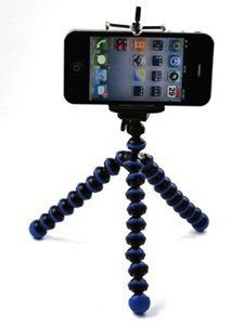 Dealzip Inc Blue  Black Octopus Style Portable and adjustable Tripod Stand with Mount  Holder for iPhone 44S5CellphoneCamera *** See this great product. Note: It's an affiliate link to Amazon