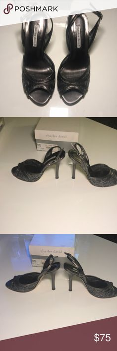 "Charles David Slingback High heel sandal size 7 Charles David New never been worn in box Slingback high heel sandal with peep-toe Size 7 4.5"" heel Gorgeous metallic pewter Combination of leather and lace Charles David Shoes Sandals"