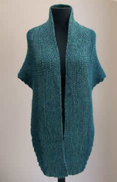 Hand Knit Shoulder Shawl Scarf Cowl Wrap, Stylish Comfort Prayer Meditation, Turquoise Blue, Ready to Ship FREE SHIPPING by PeacefulPath on Etsy