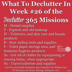 What to declutter in week #26 of the Declutter 365 missions {get a free printable Declutter 365 calendar for a whole year of missions on Home Storage Solutions 101!} Declutter Home, Decluttering, Home Organization Hacks, Organizing Tips, Toilet Paper Storage, Clutter Control, Old Makeup, Getting Rid Of Clutter, Home Storage Solutions