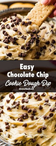 Cookie Dough Dip easy cream cheese dip that tastes like cookie dough! - This Easy Chocolate Chip Cookie Dough Dip is creamy and perfect for any party! You simply beat together a few ingredients, throw in chocolate chips and you're good to go! Dessert Dips, Smores Dessert, Quick Dessert Recipes, Keto Desserts, Party Desserts, Baking Recipes, Cookie Recipes, Easy Dip Recipes, Chip Dip Recipes