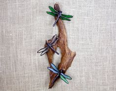 Dragonfly Trio Stained Glass Wall Hanging Sculpture by BerlinGlass