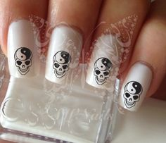 Yin Yang Skull Nail Art Nail water decals transfers