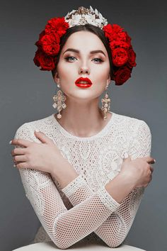 Russian Wedding Hair and Makeup Ideas Bridal Beauty Wedding Beauty Bridal Makeup Wedding Makeup Flower Crown Bridal Makeup Looks, Wedding Hair And Makeup, Bridal Beauty, Wedding Beauty, Bridal Hair, Hair Makeup, Crown Makeup, Makeup List, Make Up Looks