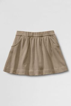 Girls' Knit Gathered Skort from Lands' End. Cotton knit=no ironing. Heavyweight & durable. Best part: they have pockets. Favorite uniform skort ever.