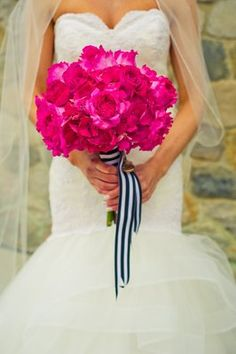 Fuchsia roses and navy ribbon. Parsonage Events.... Do this but with ribbon of bridesmaid's color dresses