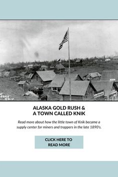 Although few of the prospectors who entered Cook Inlet became rich, toward the end of the 1800s a small Tanaina Athabascan settlement called Knik had enough commercial activity that the Alaska Commercial Co., which had taken over the assets of the Russian American Co., opened a trading post in 1882. George W. Palmer opened a store there in the 1890s. Read more on the blog by clicking on this pin. #alaskahistory