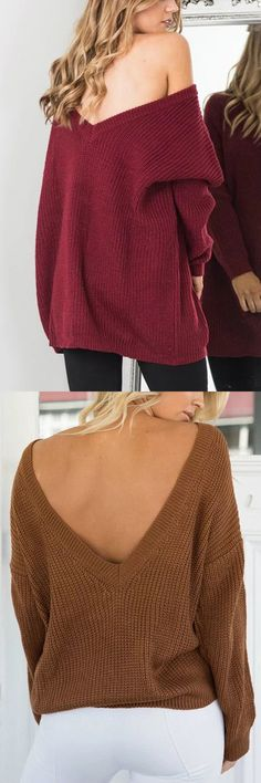 Burgundy Sexy Backless Ribbed Jumper