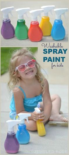 Washable spray paint for kids- what a fun way for kids to make art outside! Only takes seconds to make, too!