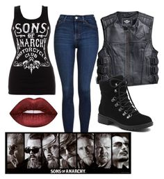 """Untitled #158"" by xcastielx on Polyvore featuring Harley-Davidson, Topshop, G.H. Bass & Co. and Lime Crime"