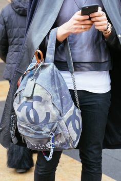 Chanel graffiti canvas backpack