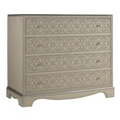 Bring bold style to your master suite with this striking chest, showcasing 4 drawers with linen-upholstered fronts and chic nailhead details.