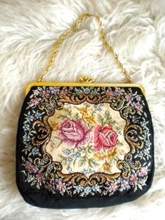 Vintage 1930's 1940's Petit Point Evening Bag by flyingvalise