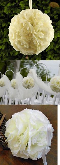 Flowers Petals and Garlands 20938: 6 Pcs - 7.5 Rose Flower Kissing Balls Wedding Pew, Home Decoration - Ivory -> BUY IT NOW ONLY: $35 on eBay!