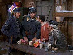 Richard Dawson with John Banner, Robert Clary and Larry Hovis on HOGAN'S HEROES