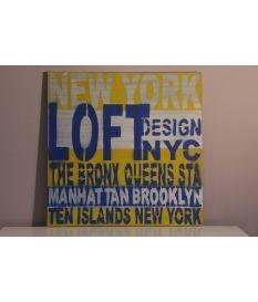 Cuadro New York en azul, amarillo y plata