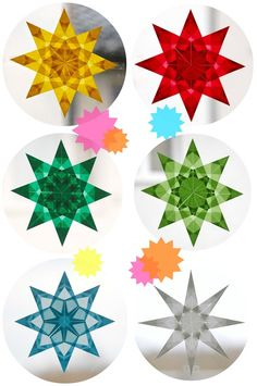 Window stars made of transparent paper - Werkstatt: Papier - Origami Origami Diy, Origami Simple, Origami Stars, Origami Flowers, Origami Paper, Diy Paper, Paper Crafts, Handmade Christmas, Christmas Crafts