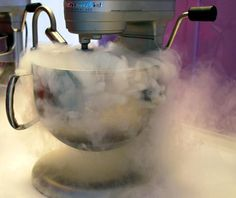 """Nitro"" ice cream: fresh cream batter frozen in front of guests with fast-acting liquid nitrogen."