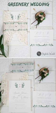 green wedding ideas laser cut wrap with greenery pattern wedding invitations SWWS132 #wedding #weddinginvitations#stylishwedd #stylishweddinvitations #vellumweddinginvitations