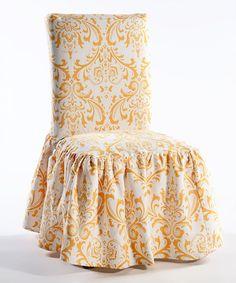 Yellow Microfiber Ruffled Damask Dining Chair Slipcover