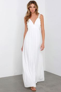 Romantic Realizations Ivory Crochet Maxi Dress at Lulus.com! - If only the back wasn't so open but could make for a cute beach dress over a swim suit!!!