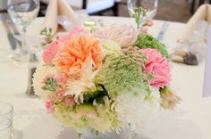 Love! Blush and Champagne Wedding center pieces. Football Mums, Queen Anne's Lace, Dahlias, Peach Stock and Garden Roses. My favorite blooms. Thank you Bonnie @ Ruby Reds Floral & Garden. XOXO