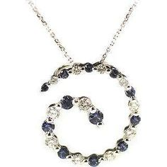 14k White Gold Voyage Fine Sapphire And Diamond Necklace. Find of my week on eBay, winner!