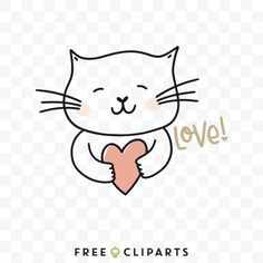 Free Love Cat clip art Free Svg Cut Files, Hello Kitty, Snoopy, Clip Art, Love, My Favorite Things, Cats, Illustration, Creative