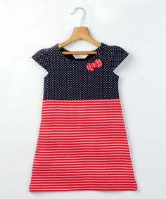 This Navy & Red Bow Cap-Sleeve Dress - Girls is perfect! #zulilyfinds