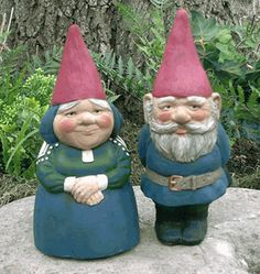 Mr & Mrs Gnome Garden Gnomes Set - glazed inside and out for weather resistance; made in USA