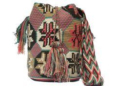 Pink/Blue/Brown Flower Patterns Wayuu Bag Whatsapp +57 320 345 9226