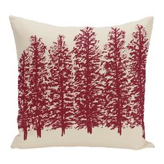 Three Posts Through the Woods Flower Print Throw Pillow Color: Cranberry/Burgundy