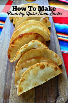 How To Make Crunchy Hard Taco Shells in just a few easy steps! Want to eat crunchy taco's but only have the soft tortillas? Learn How To Make Crunchy Hard Taco Shells in just minutes in your own home! Baked Taco Shells, Homemade Taco Shells, Homemade Tacos, Tortilla Shells, Mexican Dishes, Mexican Food Recipes, Pork Recipes, Healthy Recipes, Crispy Tacos