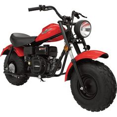 This Baja Motorsports MB200 mini bike is a great choice for trail riding with hydraulic front suspension, manual clutch and hand-activated braking. Includes a working front headlight and banana seat for a comfortable ride. Features a compact storage compartment for sunglasses, keys, coins and more. In Red. Not for sale in CA, TX or AR. Displacement (cc): 196, Speed (MPH): 25, HP: 6.5, Wheel Diameter (in.): 8, Dimensions L x W x H (in.): 66.14 x 30.3 x 40, Color: Red, Start Type: Recoil, Fuel…