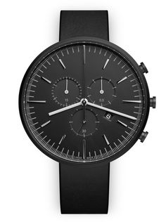 M42 Chronograph watch in PVD black / with black nappa leather strap