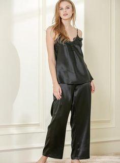 Allison eyelet lace camisole set 19 Momme Charmeuse 100% silk Pyjama Satin ea2a784f2