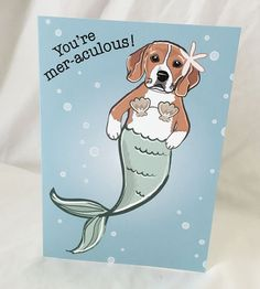 Beagle Mermaid Greeting Card by AfricanGrey on Etsy