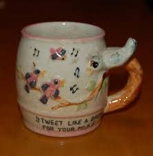 Image result for tweet like a birdie for your milk, vintage child ceramic cup