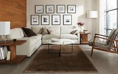 Easton Sectional with Callan Leather Chair - Living - Room & Board....................Love the wall arrangement on this.