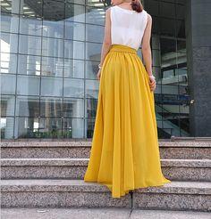 High Waist Maxi Skirt Chiffon Silk Skirts by Dressbeautiful Maxi Skirt Outfits, Dress Skirt, Pantalon Large, Chiffon Skirt, Classy Outfits, Marie, Casual Dresses, Fashion Outfits, Rock