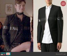 Kurt's black jacket with plastic stripe on Glee. Outfit Details: http://wornontv.net/47125/ #Glee