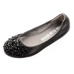 Black Lambskin Leather Beaded Bohemian Boho Evening Ballet Flats Shoe SKU-1090603