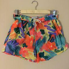 Vintage 80's Neon Floral Gilda Marx Drawstring Swim Shorts  from damsel in distressed