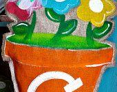 burlap flower pot