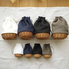 basket bags with drawstring canvas tops
