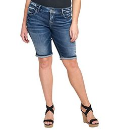 Silver Jeans Co. Women's Plus Size Suki Perfectly Curvy-Fit Mid-Rise Bermuda Short Dark Wash - http://www.darrenblogs.com/2017/03/silver-jeans-co-womens-plus-size-suki-perfectly-curvy-fit-mid-rise-bermuda-short-dark-wash/