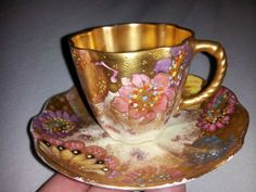 ANTIQUE MINIATURE ROYAL CROWN DERBY TEA CUP AND SAUCER MADE IN ENGLAND W/GOLD