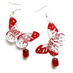 These are the cutest earrings ever! So awesome! Recycled Soda Can Jewelry Coca Cola Handmade by AbsoluteJewelry, $16.00