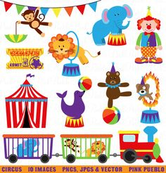 Circus Clip Art Clipart, Carnival Clip Art Clipart, Great for Birthday, Invitations, Party - Commercial and Personal April 21, 2014 at 10:11PM